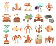 Robots icon set, cartoon style. Robots icon set. Cartoon set of robots vector icons for web design isolated on white background Royalty Free Stock Images
