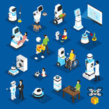 Robots Isometric Set. With machine for business, housework, medicine, patient care on blue background isolated vector illustration Stock Photo