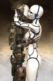 Robots Kissing, Sex, Love Romance. Abstract concept for sex, love, dating, and romance. A couple of robots are embraced in a loving kiss as they hold each other Royalty Free Stock Photo