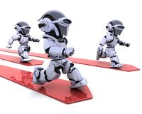 Robots leading the race Stock Image