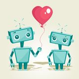 Robots in liefde stock illustratie