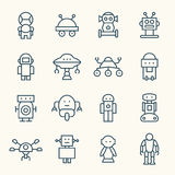 Robots line icon set. Vector Illustration Stock Photo
