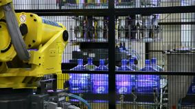 Robots loaders work in a warehouse. stock video