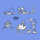 Robots locos biblioteca Foto de archivo libre de regalías
