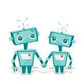 Robots in love. Illustration Royalty Free Stock Image
