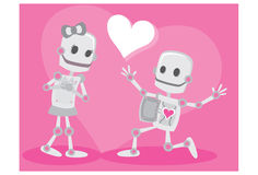 Robots In Love. An illustration of a robot couple in love Stock Photography