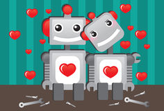 Robots in Love stock illustration
