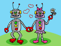 Robots in love. Cute and fun male and female robots characters in love, perfect valentine's day card or other love occasion Royalty Free Stock Images