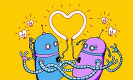 Robots in love stock illustration