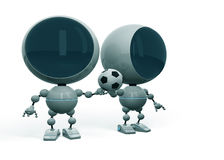 Robots love football. Two white illuminated robots footballers that hold one football ball Royalty Free Stock Photos
