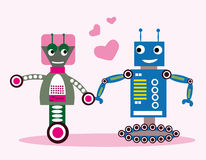 Robots in love. Funny coloring robots in love Stock Photography