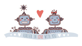 Robots in love Royalty Free Stock Photo