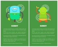 Robots mécaniques drôles sur les affiches promotionnelles réglées illustration libre de droits