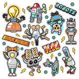 Robots and Machines Stickers, Badges, Patches Royalty Free Stock Images