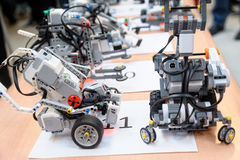 Robots made of Lego blocks Stock Images