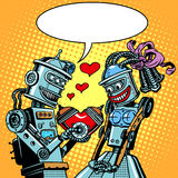 Robots man woman love Valentines day and wedding. Pop art retro style. Technology and emotions. Humor. Postcard on Valentine day. A Declaration of love. A red Royalty Free Stock Image