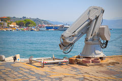 Robots, mechanical arm for lifting and launching boats Royalty Free Stock Photography