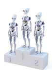 Robots with Medals. Three robots standing on a podium with a medal around their necks. One robot has a gold, one a sliver, and one a bronze medal Stock Image