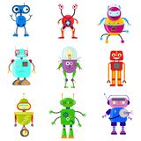 Robots mignons dans le style plat illustration stock