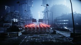 Robots militares que caminan Invasión de robots militares Concepto realista estupendo de la apocalipsis dramática futuro animació stock de ilustración