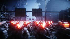 Robots militares que caminan Invasión de robots militares Concepto realista estupendo de la apocalipsis dramática futuro animació libre illustration