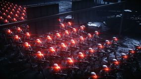 Robots militares que caminan Invasión de robots militares Concepto realista estupendo de la apocalipsis dramática futuro animació ilustración del vector