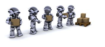 Robots moving shipping boxes stock illustration