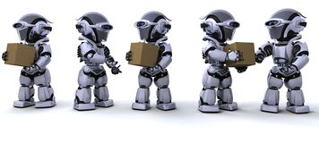 Robots moving shipping boxes Stock Images