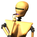Robots No. 18. Portrait of a female robot, that smokes a cigar Stock Images