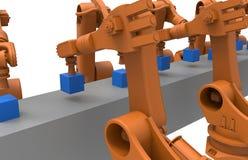 Robots op een lopende band Stock Foto