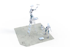 Robots Painting Royalty Free Stock Photography