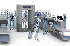 Robots passant par la sécurité illustration libre de droits