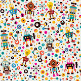 Robots pattern. Pattern illustration of cute robots drawn in retro style