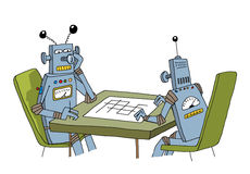 Robots playing with each other Stock Photo