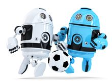 Robots playing soccer. . Contains clipping path. Robots playing soccer. on white. Contains clipping path stock illustration