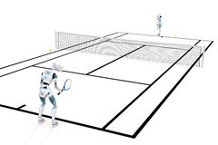 Robots Playing Tennis royalty free stock images