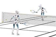 Robots Playing Tennis royalty free stock photos