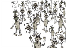 Robots On Political Demonstration Stock Photography