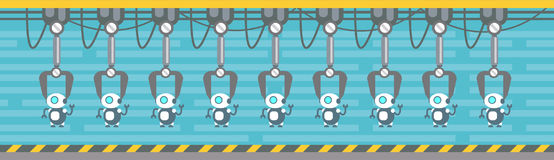 Robots Production Conveyor Automatic Assembly Machinery Industrial Automation Industry. Flat Vector Illustration Stock Images