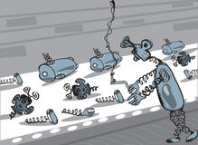 Robots Production Factory. Robots or aliens production factory, illustration in doodle style Stock Photography