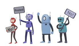 Robots on protest actions. The fight for robot rights. Vector illustration, isolated on white. Robots on protest actions. The fight for robot rights. Vector Royalty Free Stock Photos
