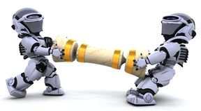 Robots pulling on a christmas cracker Royalty Free Stock Images