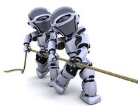 Robots pulling on a rope Stock Images