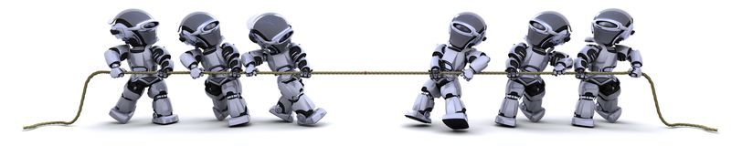 Robots pulling on a rope Stock Image