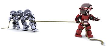 Robots pulling on a rope Royalty Free Stock Image