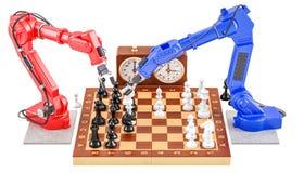 Robots que juegan el concepto del ajedrez, representación 3D Foto de archivo libre de regalías
