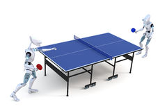 Robots que juegan a tenis de mesa Imágenes de archivo libres de regalías