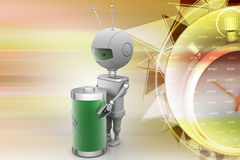 Robots with rechargeable cell Royalty Free Stock Photos