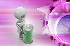 Robots with rechargeable cell Royalty Free Stock Photography