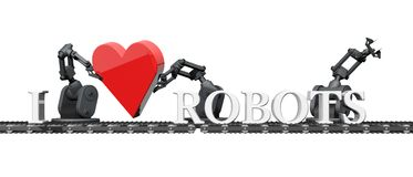 Robots with a red heart Royalty Free Stock Photos
